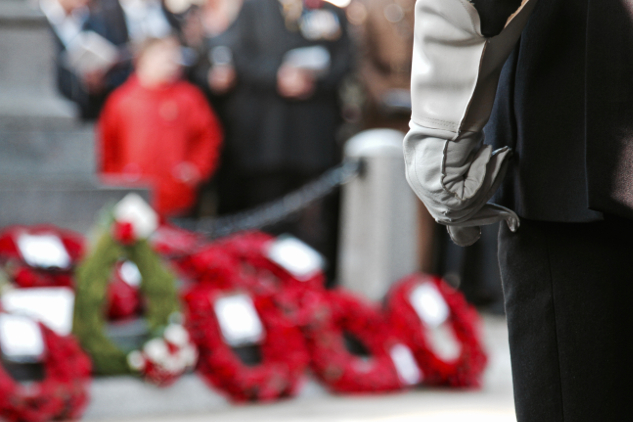 A veteran stands at attention facing the poppy wreaths.
